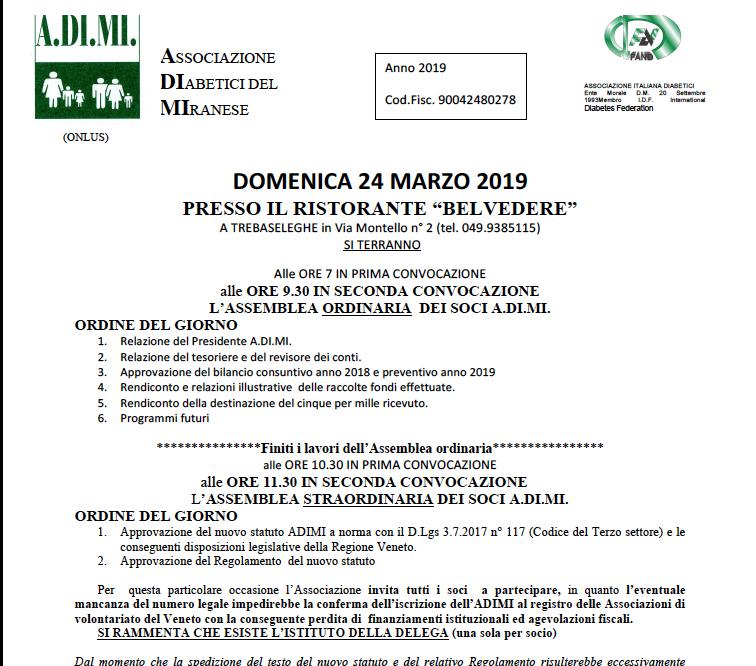 ASSEMBLEA ORDINARIA DEI SOCI 2019